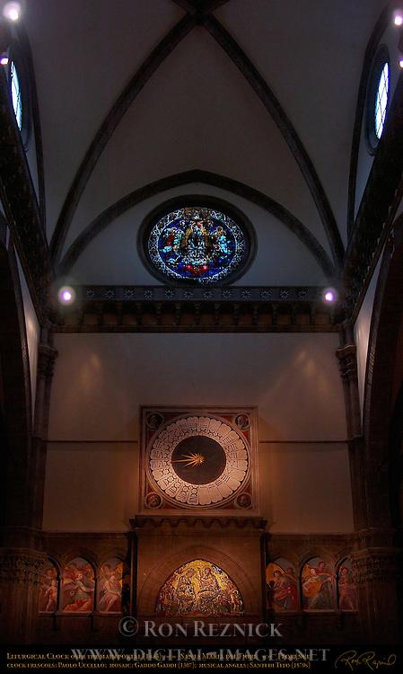 Liturgical Clock 1443 Frescoes Paolo Uccello Mosaic Coronation of Mary Gaddo Gaddi 1307 Musical Angels Santi di Tito 1570s Main Portal Interior Santa Maria del Fiore Florence