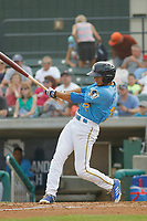 Myrtle Beach Pelicans outfielder Zach Davis (22) at bat  during a game against the Carolina Mudcats at Ticketreturn.com Field at Pelicans Ballpark on June 15 , 2018 in Myrtle Beach, South Carolina. Carolina defeated Myrtle Beach 4-2. (Robert Gurganus/Four Seam Images)