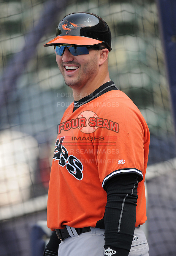 Infielder Jake Fox (44) of the Norfolk Tides, International League affiliate of the Baltimore Orioles, prior to a game against the Scranton/Wilkes-Barre Yankees on June 20, 2011, at PNC Park in Moosic, Pennsylvania. (Tom Priddy/Four Seam Images).