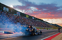 Jul 19, 2019; Morrison, CO, USA; NHRA funny car driver Shawn Langdon during qualifying for the Mile High Nationals at Bandimere Speedway. Mandatory Credit: Mark J. Rebilas-USA TODAY Sports