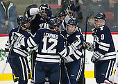Mike Doherty (Yale - 24), Rob O'Gara (Yale - 4), Ryan Obuchowski (Yale - 14), Carson Cooper (Yale - 9), Cody Learned (Yale - 12) - The visiting Yale University Bulldogs defeated the Harvard University Crimson 2-1 (EN) on Saturday, November 15, 2014, at Bright-Landry Hockey Center in Cambridge, Massachusetts.