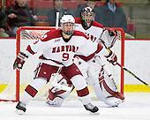 Danny Biega (Harvard - 9), Kyle Richter (Harvard - 33) - The Boston University Terriers defeated the Harvard University Crimson 6-5 in overtime on Tuesday, November 24, 2009, at Bright Hockey Center in Cambridge, Massachusetts.
