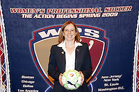 WPS Commissioner Tonya Antonucci unveils the league soccer ball in St. Louis, Thursday, Jan. 15, 2008/.