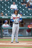 Bo Bichette (13) of the Buffalo Bisons at bat against the Caballeros de Charlotte at BB&T BallPark on July 23, 2019 in Charlotte, North Carolina. The Bisons defeated the Caballeros 8-1. (Brian Westerholt/Four Seam Images)