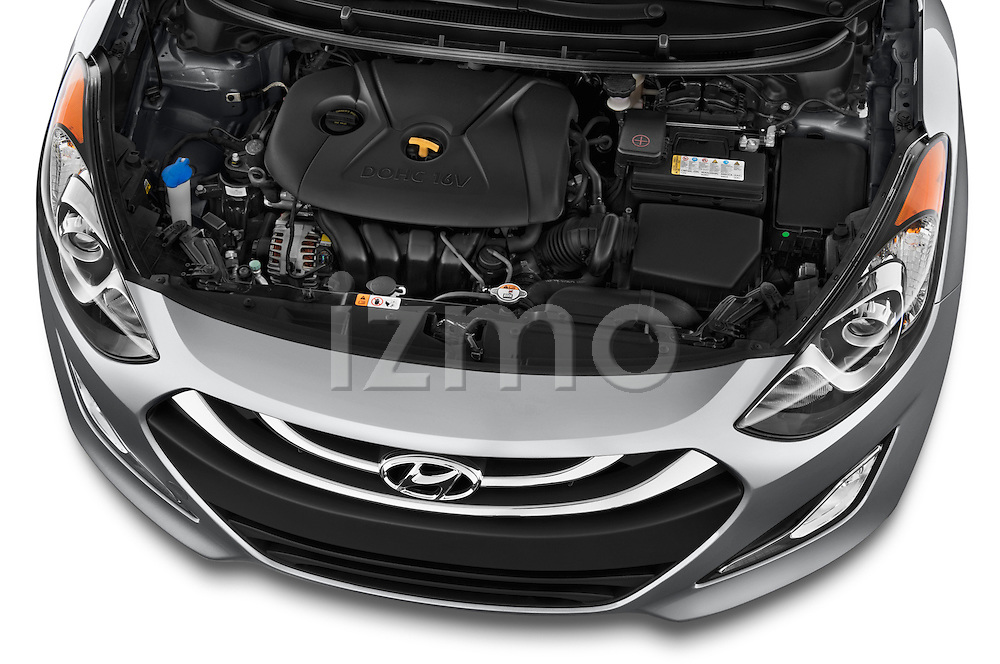 High angle engine detail of a  .2013 Hyundai Elantra GT Hatchback