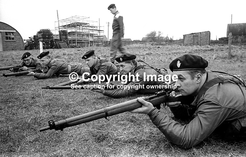 Members of the UDR, Ulster Defence Regiment, undergoing weapons training and shooting practice at Kinnegar Army Camp, Holywood, Co Down, N Ireland, March 1970. 197003000120d<br /> <br /> Copyright Image from Victor Patterson, 54 Dorchester Park, Belfast, UK, BT9 6RJ<br /> <br /> t1: +44 28 9066 1296<br /> t2: +44 28 9002 2446<br /> m: +44 7802 353836<br /> <br /> e1: victorpatterson@me.com<br /> e2: victorpatterson@gmail.com<br /> <br /> IMPORTANT: My Terms and Conditions of Business are at www.victorpatterson.com