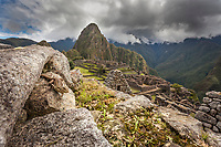 "Lizard on the stone wall of Machu Picchu, the ancient ""lost city of the Incas"", 1400 CA, 2400 meters. Discovered by Hiram Bingham in 1911. One of Peru's top tourist destinations. Huayanapichu (young mountain) in the distance."