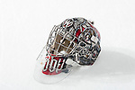 The Goalie Mask of Wisconsin Badgers goalie Scott Gudmanson (1)  sits on the ice before an NCAA hockey game against the Alabama Huntsville Chargers at the Kohl Center in Madison, Wisconsin on October 15, 2010. The Badgers won 7-0. (Photo by David Stluka)