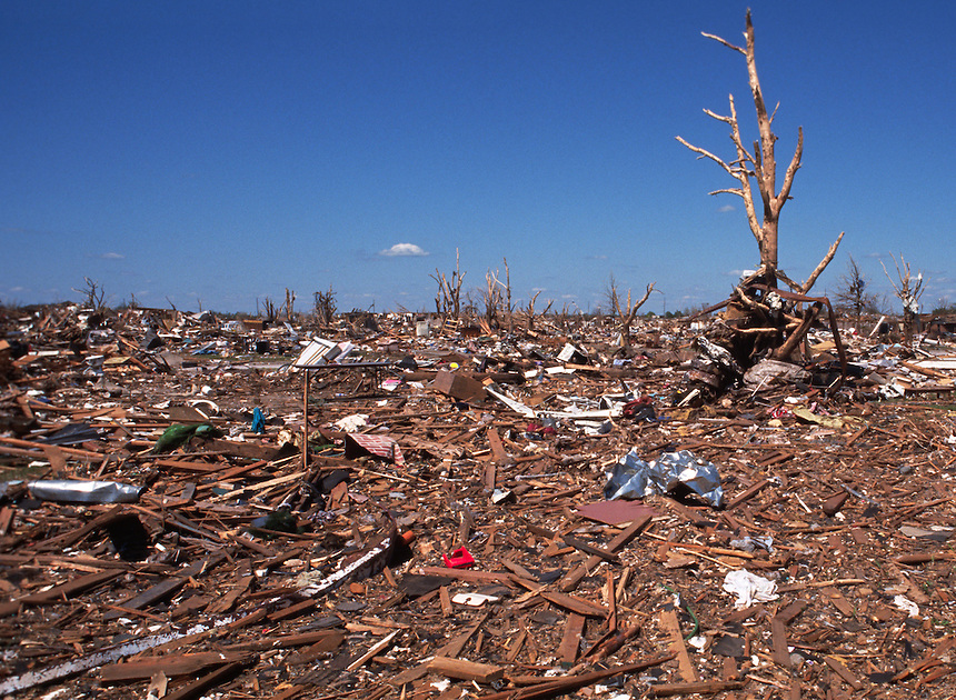 A scene of utter devastation remains in the wake of a killer F5 tornado in Moore Oklahoma on May 3rd, 1999.