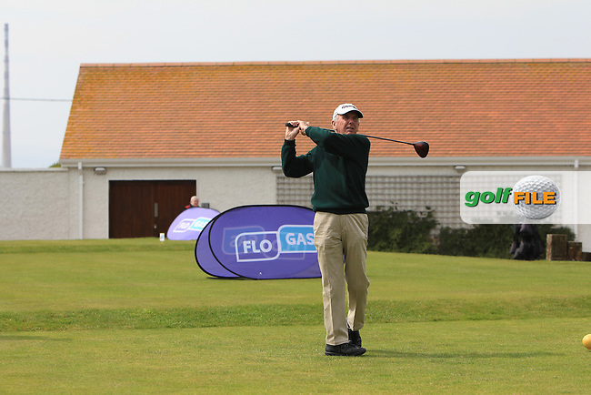 Albert Lee (Hon. Sec Golfing Union of Ireland) on the 1st tee during the Flogas Irish Amateur Open Championship Am-Am at Royal Dublin on Monday 9th May 2016.<br /> Picture:  Thos Caffrey / www.golffile.ie