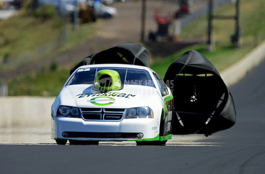 Jul, 21, 2012; Morrison, CO, USA: NHRA pro stock driver Deric Kramer during qualifying for the Mile High Nationals at Bandimere Speedway. Mandatory Credit: Mark J. Rebilas-