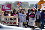 Counter protesters rally about a mile north of the 4th annual Basque Fry in Gardnerville, Nev., on Saturday, Aug. 25, 2018. Hosted by the Morning in Nevada PAC, the event is a fundraiser for conservative candidates and issues and includes traditional Basque dishes like deep-fried lamb testicles. (Cathleen Allison/Las Vegas Review Journal)