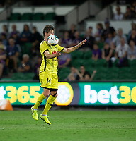 7th February 2020; HBF Park, Perth, Western Australia, Australia; A League Football, Perth Glory versus Wellington Phoenix; Alex Rufer of Wellington Phoenix traps the high ball on his chest