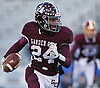 Trevor Yeboah-Kodie #24 of Garden City rushes for a first down during the Nassau County Conference II varsity football semifinals against Calhoun at Hofstra University on Friday, Nov. 10, 2017. He ran for two touchdowns in the first quarter.