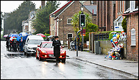 BNPS.co.uk (01202 558833)Pic: GrahamHunt/BNPS<br /> <br /> Mourners pause at the Pelican crossing during the funeral of tragic Jaiden Mangan in Wareham.<br /> <br /> A lorry driver who sarcastically clapped a motorist moments before he knocked down and killed a young boy on a pedestrian crossing was today cleared of causing death by dangerous driving.<br /> <br /> Dean Phoenix admitted he made a mistake by failing to see a red light at the crossing to allow three-year-old Jaiden Mangan and his family walk across.<br /> <br /> Phoenix, 44, pulled away without seeing them and collided with Jaiden, who suffered fatal chest and abdominal injuries.<br /> <br /> A court heard that the Phoenix had been distracted at the time because he was 'sarcastically clapping' another motorist just as he drove off.