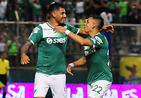 PALMIRA - COLOMBIA-08-07-2017: Jefferson Duque (Izq) jugador del Deportivo Cali celebra después de anotar un gol a Atlético Nacional durante partido por la fecha 1 de la Liga Aguila II 2017 jugado en el estadio Palmaseca de la ciudad de Palmira. / Jefferson Duque (L) player of Deportivo Cali celebrates after scoring a goal to Envigado FC during match for the date 1 of the Aguila League II 2017 played at Palmaseca stadium in Palmira city.  Photo: VizzorImage/ Nelson Rios /Cont