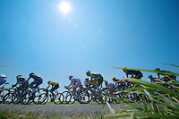peloton rushing by with yellow jersey Chris Froome (GBR) & polka dot jersy leader Pierre Roland (FRA) in the pack<br /> <br /> Tour de France 2013<br /> stage 13: Tours to Saint-Amand-Montrond, 173km