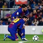 League Santander 2017/2018. Game: 25.<br /> FC Barcelona vs Girona FC: 6-1.<br /> Luis Suarez &amp; Lionel Messi.
