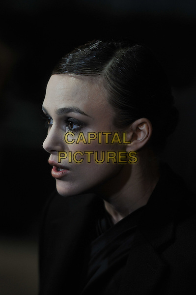 Keira Knightley .'A Dangerous Method' premiere, 55th BFI London Film Festival, Odeon West End cinema, Leicester Square, London, England..24th October 2011.headshot portrait black side profile mouth open.CAP/MAR.© Martin Harris/Capital Pictures.