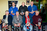 Seated L-R David Fleming, Gneeveguilla, 'Dog of the Year', Johnny kelly, Tralee, 'Hall of Fame', Neilus O'Connell, 'Public Trainer of the year' and Ger Reidy, Ballyheigue, 'Private Trainer of the year', Back L-R John Francis Casey, Ballyheigue, ' Female dog of the year'  Noel O'Leary, Tralee, 'Female dog of the year' and Donal O'Mahony, Millstreet, 'Owner of the year' pictured at the 2018 Awards night in the Kingdom Greyhound Stadium, Tralee last Friday.
