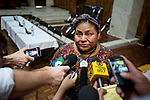 The winner of the 1992 Nobel Peace Prize,Rigoberta Menchú speaks to the press before the trial starts for former Guatemalan dictator, Efrain Rios MonttIn the Supreme Court of Justice Guatemala CIty March 19, 2013.