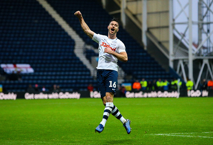 Preston North End's Andrew Hughes celebrates after scoring his side's equalising goal to make the score 1-1<br /> <br /> Photographer Alex Dodd/CameraSport<br /> <br /> The Emirates FA Cup Third Round - Preston North End v Doncaster Rovers - Sunday 6th January 2019 - Deepdale Stadium - Preston<br />  <br /> World Copyright © 2019 CameraSport. All rights reserved. 43 Linden Ave. Countesthorpe. Leicester. England. LE8 5PG - Tel: +44 (0) 116 277 4147 - admin@camerasport.com - www.camerasport.com