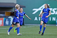 Portland, OR - Saturday May 06, 2017: Jess Fishlock, Nahomi Kawasumi, Rebekah Stott during a regular season National Women's Soccer League (NWSL) match between the Portland Thorns FC and the Chicago Red Stars at Providence Park.