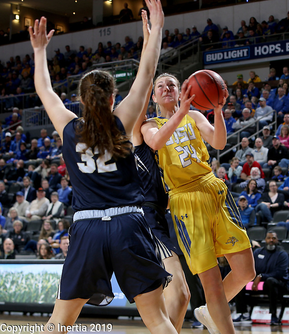 SIOUX FALLS, SD - MARCH 11: Tagyn Larson #24 from South Dakota State attempts a shot over Sarah Garvie #32 from Oral Roberts at the 2019 Summit League Basketball Tournament at the Denny Sanford Premier Center in Sioux Falls. (Photo by Dave Eggen/Inertia)