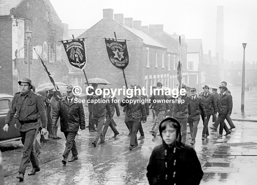 UDA members marching to a Remembrance Sunday event at the Peaceline in West Belfast organised jointly by the Ulster Defence Association, UDA, and the West Belfast Orange Volunteers, 12th November 1972. 197211120782b<br />