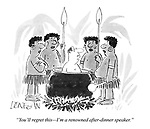 """""""You'll regret this - I'm a renowned after-dinner speaker."""""""