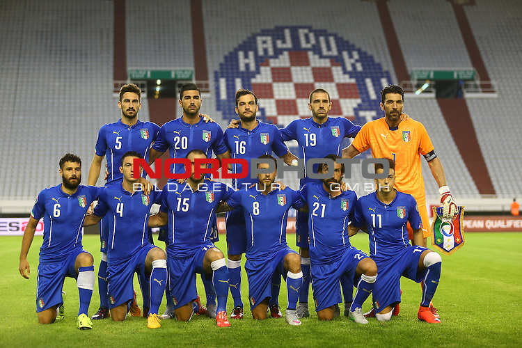 12.06.2015., Croatia, stadium Poljud, Split - Qualifying match for the European Championship to be held in 2016 in France, Group H, Round 6, Croatia - Italy.Davide Astori, Graziano Pelle, Marco Parolo, Leonardo Bonucci, Gianluigi Buffon, Antonio Candreva, Matteo Darmian, Lorenzo De Silvestri, Claudio Marchisio, Andrea Pirlo, Stephan El Shaarawa.<br />  <br /> Foto &copy;  nph / PIXSELL / Slavko MidzorL;