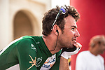 Mark Cavendish (GBR) Team Dimension Data relaxed at sign on before the start of Stage 2 of the 2018 Tour of Oman running 167.5km from Sultan Qaboos University to Al Bustan. 14th February 2018.<br /> Picture: ASO/Muscat Municipality/Kare Dehlie Thorstad | Cyclefile<br /> <br /> <br /> All photos usage must carry mandatory copyright credit (&copy; Cyclefile | ASO/Muscat Municipality/Kare Dehlie Thorstad)