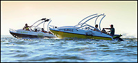 BNPS.co.uk (01202 558833)<br /> Pic: Sealver/BNPS<br /> <br /> Is it a boat - Is it a jetski....It's both!<br /> <br /> A futuristic-looking boat that is solely powered by a jetski has hit the market and it could be yours for less than &pound;8,000.<br /> <br /> The Sealver Wave Boat 444 works by allowing most mainstream jetskis to connect to the rear end, both powering and steering the boat. The jetski can then be detached at your leisure with the 14.5ft long vessel left anchored in the sea. <br /> <br /> The process of attaching and detaching the ski is quick and simple with customised adaptor kits allowing the likes of Yamaha, Kawasaki and Sea-Doo to hook up easily. <br /> <br /> Depending on the jetski powering it, the 617.2lb Wave Boat can reach speeds of 50 knots - the equivalent of 57mph.