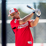 27 February 2017: Washington Nationals infielder Wilmer Difo awaits his turn in the batting cage during a Spring Training workout at the Ballpark of the Palm Beaches in West Palm Beach, Florida. Mandatory Credit: Ed Wolfstein Photo *** RAW (NEF) Image File Available ***