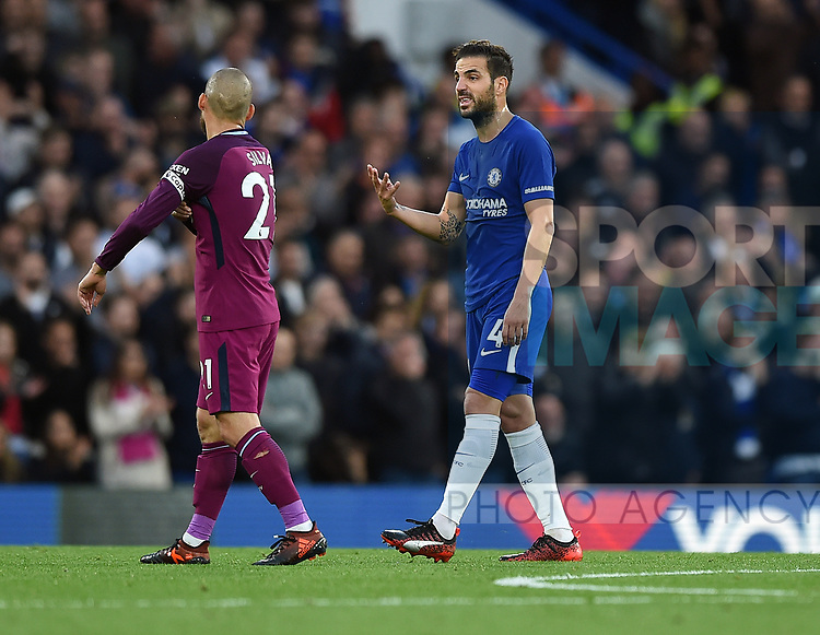 Cesc Fabregas of Chelsea gestures towards David Silva of Manchester City during the premier league match at the Stamford Bridge stadium, London. Picture date 30th September 2017. Picture credit should read: Robin Parker/Sportimage
