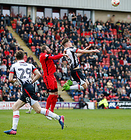 Grimsby Town's Sam Jones leaps for the header during the Sky Bet League 2 match between Leyton Orient and Grimsby Town at the Matchroom Stadium, London, England on 11 March 2017. Photo by Carlton Myrie / PRiME Media Images.