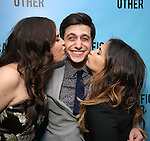 """Lindsay Mendez, Gideon Glick and Sas Goldberg attends the Broadway Opening Night performance after party for """"Significant Other"""" at the Redeye Grill on March 2, 2017 in New York City."""
