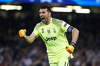Gianluigi Buffon of Juventus celebrates his side's first goal during the UEFA Champions League Final match between Juventus and Real Madrid at the Principality Stadium on June 3rd 2017 in Cardiff, Wales. <br /> <br /> Foto Daniel Chesterton / Panoramic / Insidefoto