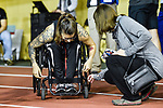 MONTREAL, QC - APRIL 29:  A participant secures herself to a wheelchair during the 2017 Montreal Paralympian Search at Complexe sportif Claude-Robillard. Photo: Minas Panagiotakis/Canadian Paralympic Committee