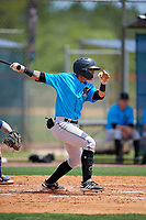 Miami Marlins Victor Mesa Jr. (10) hits a single during a Minor League Extended Spring Training game against the New York Mets on April 12, 2019 at the First Data Field Complex in St. Lucie, Florida.  (Mike Janes/Four Seam Images)