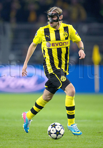 09.04.2013 Dortmund, Germany. Dortmund's Marcel Schmelzer in action during the UEFA Champions League quarter final second leg soccer match between Borussia Dortmund and Malaga.