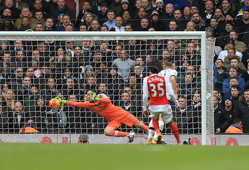 05.03.2016. White Hart Lane, London, England. Barclays Premier League. Tottenham Hotspur versus Arsenal. David Ospina of Arsenal makes the point blank save from Erik Lamela of Tottenham Hotspur.