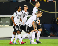 Serge Gnabry (Deutschland Germany), Toni Kroos (Deutschland Germany), Marco Reus (Deutschland, Germany), Niklas Süle (Deutschland Germany) nach dem 1:0 - 06.09.2019: Deutschland vs. Niederlande, Volksparkstadion Hamburg, EM-Qualifikation DISCLAIMER: DFB regulations prohibit any use of photographs as image sequences and/or quasi-video.