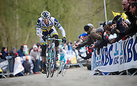 Gent-Wevelgem 2013.Juan Antonio Flecha (ESP) breaks clear up the Kemmelberg.