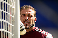 Colorado Rapids goalkeeper Joe Nasco (23) warms up. The New York Red Bulls and the Colorado Rapids played to a 1-1 tie during a Major League Soccer (MLS) match at Red Bull Arena in Harrison, NJ, on March 15, 2014.