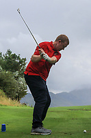 Ronan Hehir (Westport) on the 14th tee during the Final of the Junior Cup in the AIG Cups & Shields Connacht Finals 2019 in Westport Golf Club, Westport, Co. Mayo on Thursday 8th August 2019.<br /> <br /> Picture:  Thos Caffrey / www.golffile.ie<br /> <br /> All photos usage must carry mandatory copyright credit (© Golffile | Thos Caffrey)