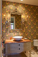 Stock photo of residential guest bathroom, powder room.