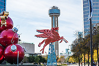 This was another cityscape image of the Red Flying Horse or Pegasus sitting on top of an oil derrick which rotates for different views.  This  neon Pegasus had sat on top of the Magnolia Hotel since the 1930 till it had to be taken down because of damage. The neon horse was restore by the Omni Hotel and today the red giant ornaments looked kind of nice and the cityscape of the Reunion tower in the background for another cityscape image of downtown. This was the orginal symbol of the Magnolia Oil Company