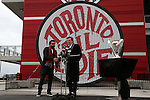 08 December 2016: Canadian soccer legend Dwayne De Rosario (left) introduces Toronto Mayor John Tory. Major League Soccer's Philip F. Anschutz Trophy made an appearance with Toronto's mayor at a press conference outside of BMO Field in Toronto, Ontario in Canada two days before MLS Cup 2016.