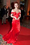 Bella Thorne Dazzles In Red Satin Bustier Gown